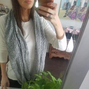 Grey knit infinity scarf
